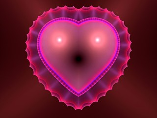 Beautiful pink heart fractal abstract background
