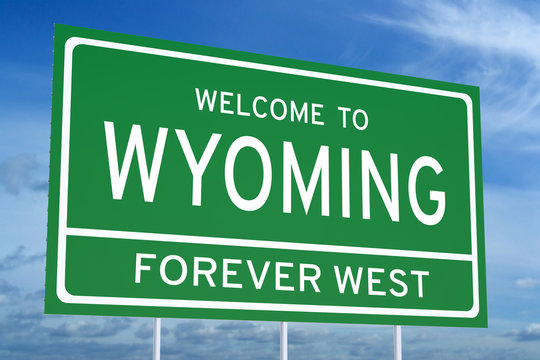 Welcome to Wyoming state road sign, 3D rendering
