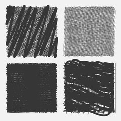 Collection of backgrounds with linear doodles. Dark gray and black  pattern with hand drawn lines. Abstract squiggly minimal lines entangled set. 4 unique backgrounds to entangled thin and bold lines.