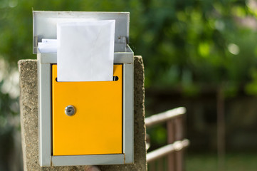 Open mailbox with letters shot with low depth of field