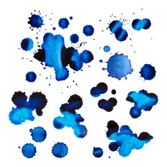 Set of blue ink stains and drops