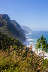 Na Pali coastline on a sunny day