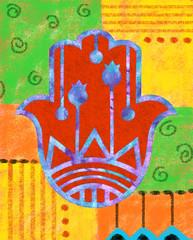 Colorful Hamsa - Decorative hamsa on colorful background.