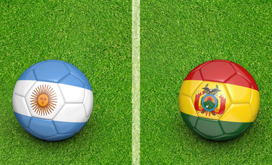 Qualifier preliminary football match between country teams Argentina and Bolivia