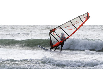 Wind Surfer on a windy stormy day