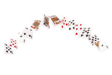 Game cards flying . Isolate on white background