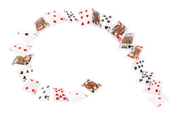 Game cards flying in a spiral. Isolate on white background