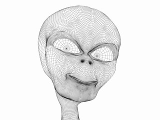 digitally rendered illustration of a space alien with expression