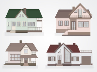Vector set of houses icons.