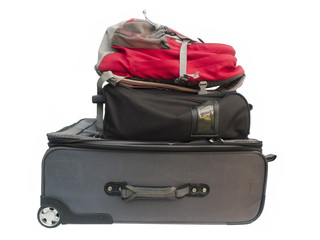 Large suitcases and backpack.