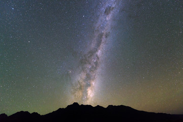 Milky Way over the silhouette moutain in New Zealand.