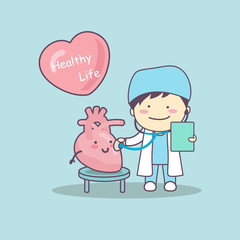 cute cartoon doctor check heart
