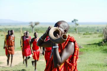 Masai Kudu Horn Blowing - Kenya Wall mural