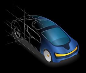 futuristic design vehicle, future car, design sketch, vector illustration