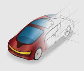 futuristic design vehicle, future car, design sketch, vector illustration