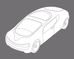 futuristic design vehicle, future car, line drawing illustration