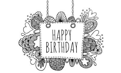 Happy birthday doodle vector lineart