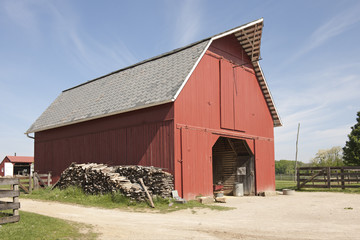 Red Storage Barn on a Bright Day