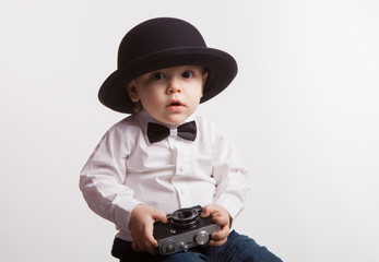 Little boy with a camera