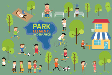 Park infographics elements, people having activities in the park