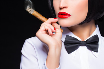 Gangster woman with cigar