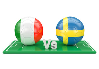 Italy / Sweden soccer game over soccer field