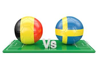 Belgium / Sweden soccer game over soccer field