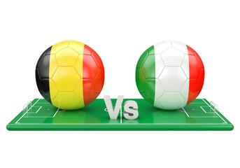 Belgium / Italy soccer game over soccer field