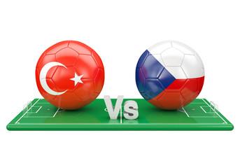 Turkey / Czech republic soccer game over soccer field