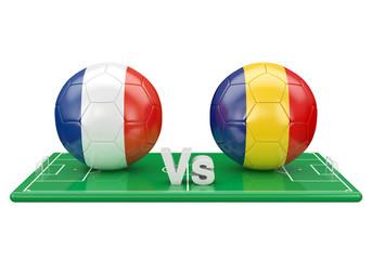 France / Romania soccer game over soccer field