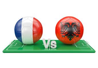 France / Albania soccer game over soccer field