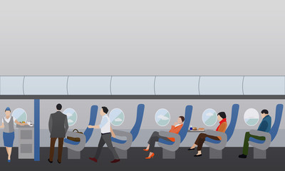 Airline travel passengers concept vector banner. People in airplane. Aircraft interior.