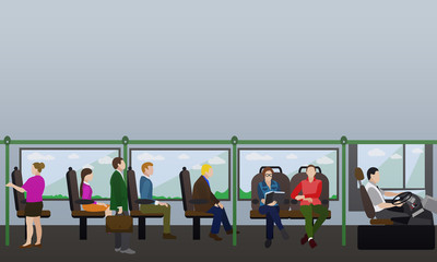 Passengers public transport concept vector banner. People in bus. Interior