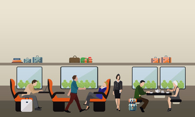 Passengers public transport concept vector banner. People in train. Subway and rail interior