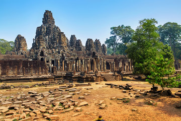 Cambodia Famous Landmark. Prasat Bayon Temple In Angkor Thom, Angkor Wat Complex, Siem Reap. Ancient Khmer Architecture. Popular Tourist Attraction, Travel Destination In Asia. Tourism. World Heritage