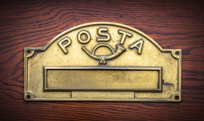 Traditional Italian brass postbox