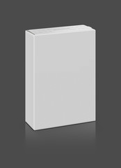 Blank packaging paper box isolated on gray background