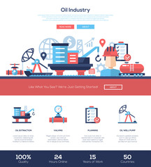 Oil and gas industry website header banner with webdesign elements
