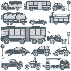 Foto op Canvas Cartoon cars Transport blue icons