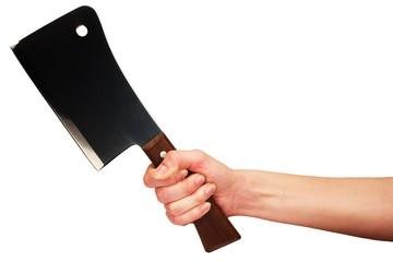 Hand with kitchen hatchet