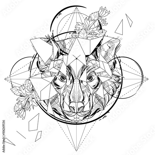 Animal Head Triangular Icon Geometric Trendy Line Design Vector Illustration Ready For Tattoo Or