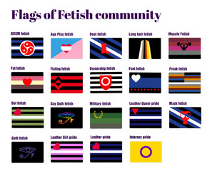 LGBT Gay flags, flat vector illustration, homosexual couple pride. Flags of fetish community