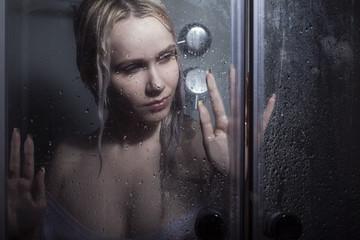 woman bathing in darkness