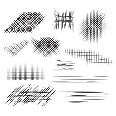 Set pencil strokes, halftone, engraving. Vector element for your design