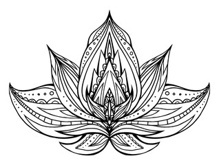 Outline Lotus with boho pattern. Vector element for spa centers, yoga studios. Hand drawn. Doodle elements for your design. Coloring for adults