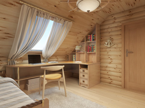 Log interior room for a teenager from the timber in a marine sty