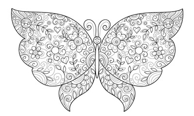 beautiful butterfly with floral elements coloring page for adults