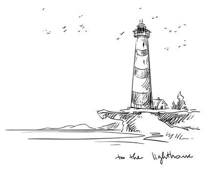 lighthouse. Vector sketch.