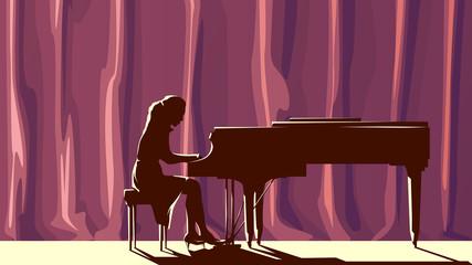 Silhouette pianist in concert hall in spotlight.