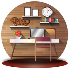 working room elevation set with background for interior,vector illustration